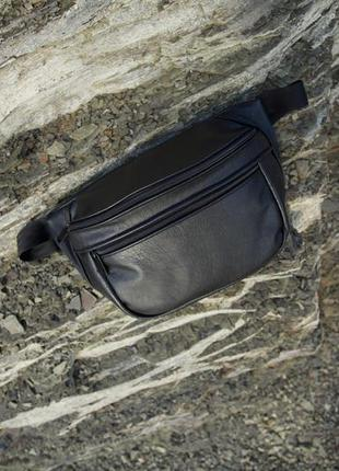 Oversize бананка натуральная кожа черный матовый сумка гигант на плече не рюкзак!