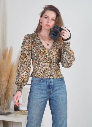 Леопардов блуза рубашка на пуговицах h&m