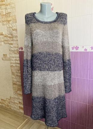 Вязаное трехцветное платье кольчуха с люрексовой нитью шерстяное