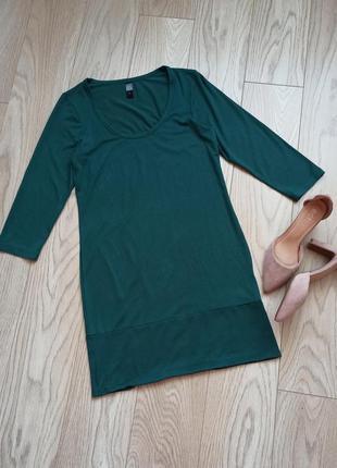Трикотажное короткое платье бутылочного цвета, р.l