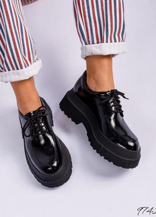 ❤ женские черные кожаные туфли лоферы ❤