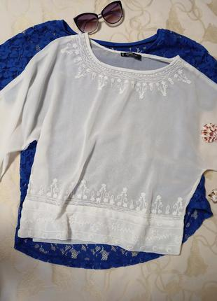 Нежная вискозная блуза с вышивкой,46-48разм.,mango