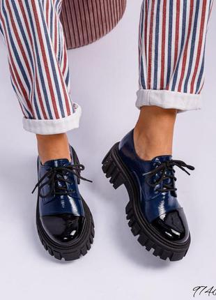 ❤ женские синие кожаные туфли лоферы ❤