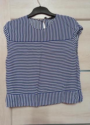 Футболка блуза зара в полоску полиэстер