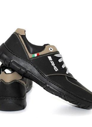Чёрно-оливковые туфли для подростков 110959