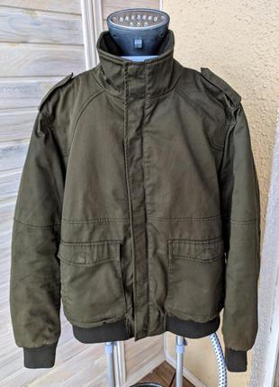 Мужская теплая куртка курточка бомбер хаки зелёная hm
