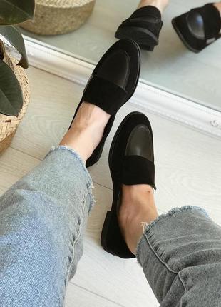 Чёрные лоферы лофери 40 туфли балетки мягкие кожаные замшевые туфлі