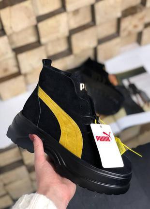 Puma spring boots black yellow ботинки женские деми