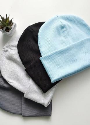 Базовая шапка в рубчик. 56-58 см, голубая