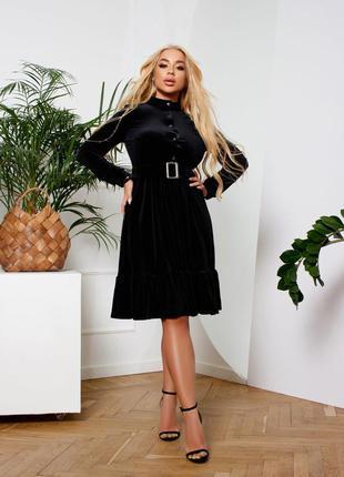Платье женское нарядное черное демисезон осень с поясом миди