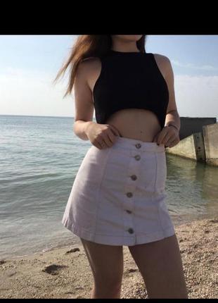 Юбка 100% коттон на болтах джинсовая белоснежная плотный хлопок трапеция