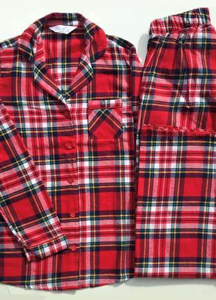 Фирменная фланелевая женская пижама в клетку primark