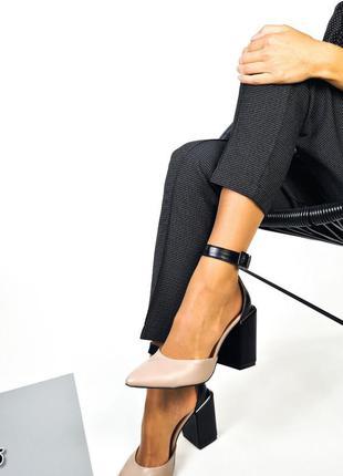 Рр 36-40.чëрные туфли на каблуке из натуральной кожи