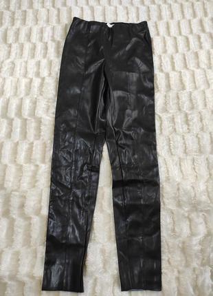 Кожаные штаны лосины скини h&m высокая посадка