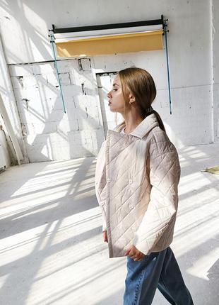Стеганный двубортный пиджак