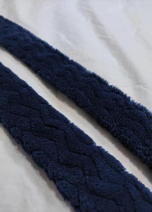 Синий махровый пояс от халата тёмно синий плюшевый пояс для халата тканевый мягкий поясок