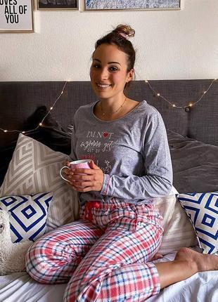 Теплая женская пижама с флисовыми штанами, домашний костюм esmara германия