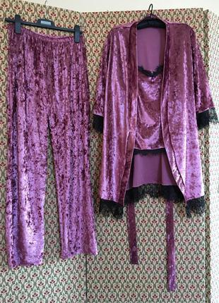 Костюм тройка батал бархатный пижама домашний велюровый бархат халат брюки палаццо кружево