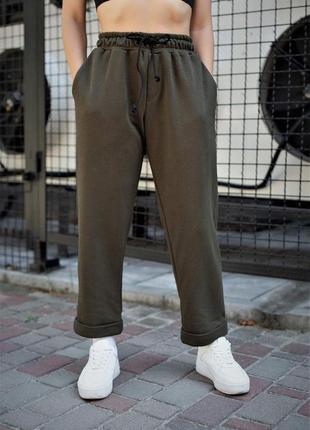 Короткі котонові штани чінос кольору хакі without 8048132
