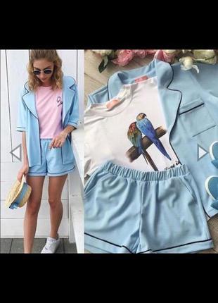 Костюм пижамный стиль оверсайз жакет шорты