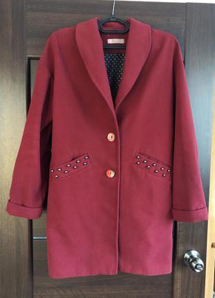 Пальто бордо размер 48-50
