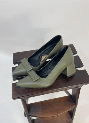 Эксклюзивные туфли лодочки итальянская кожа оливка хаки