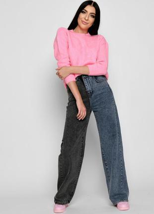 Двухцветные джинсы-палаццо