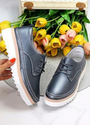 Туфли в натуральной коже еа шнуровке