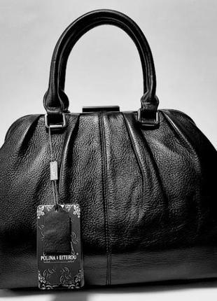 Женская кожаная сумка ридикюль черный