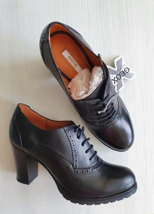 Закрытые итальянские кожаные туфли на шнурках geox 100% натуральная кожа