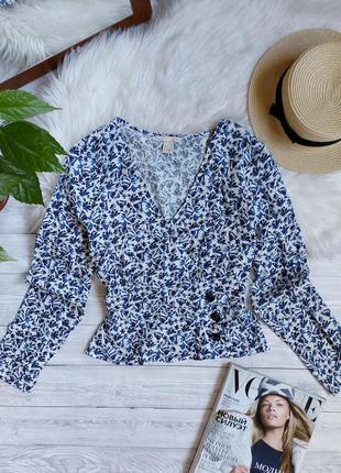 Блузка в цветочек вискоза блуза на запах h&m в квіти