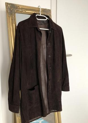 Винтажная замшевая рубашка, кожаная куртка, натуральная замша кожа 100%