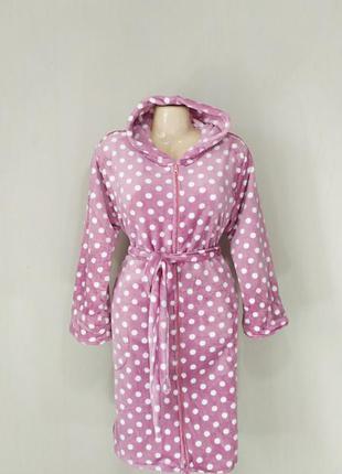 Женский махровый халат шиншилла на молнии с капюшоном и карманами
