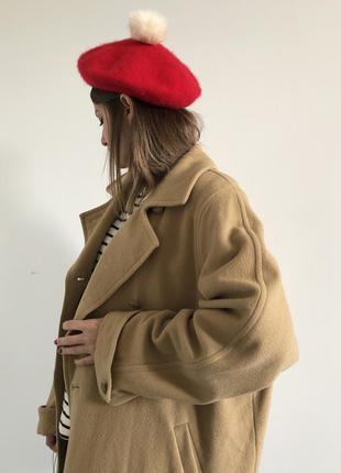 Бежевое шерстяное пальто оверсайз кемел camel