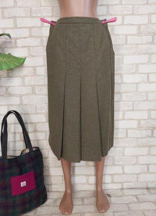 Новая шикарная юбка миди со 100 % шерсти в нежный зедёный цвет+плиссе, размер л-ка