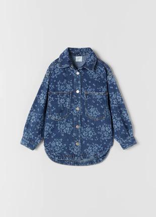 Джинсова куртка з квітковим принтом, zara, оригінал, з німеччини!