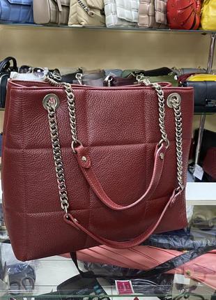 Сумка темно-красная красная кожаная сумка сумка шкіряна італійська