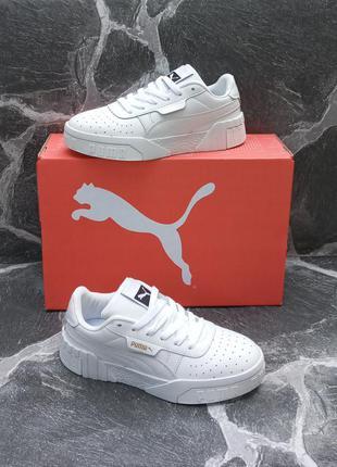 Кожаные женские кроссовки puma cali белые.осенние