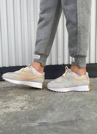 Шикарные женские кроссовки new balance 327 beige наложка