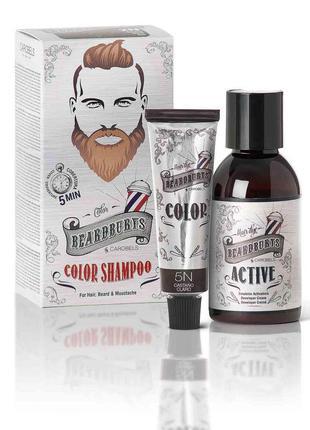 Шампунь камуфлирующий beardburys 5n (светло-коричневый) для головы/бороды/усов (краска30мл+актив45мл)