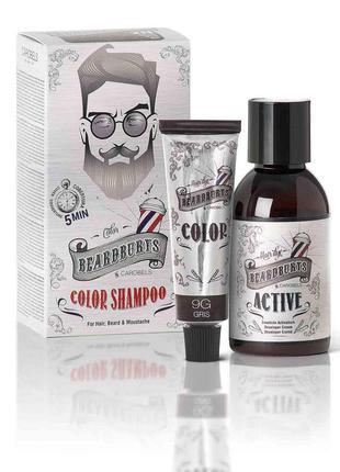 Шампунь камуфлирующий beardburys 9g (серый) для головы/бороды/усов (краска30мл+актив45мл)