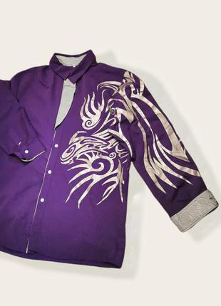 Рубашка с напылением принт узор полоски мужская