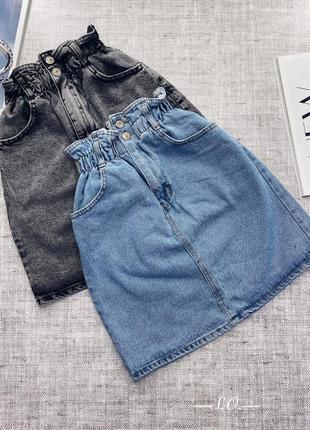 Трендовая джинсовая юбка багги высокая посадка на резинке