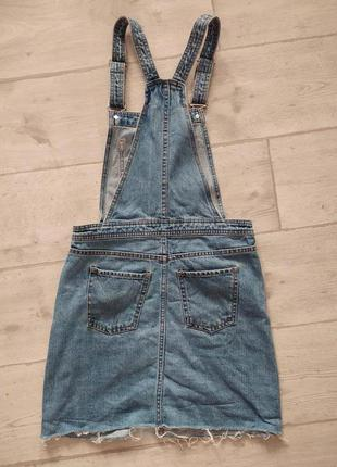 Шикарный джинсовый комбинезон юбка необработанный край
