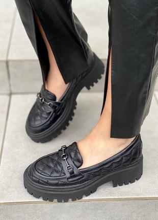Туфли лоферы в чёрной коже с 36 по 41 размер