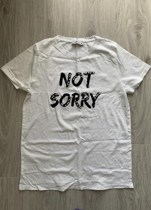 Fb sister белая футболка not sorry с жемчугом м размер