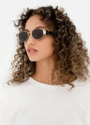 Крутые солнцезащитные очки черные золотистые овальные круглые ретро окуляри сонцезахисні овальні