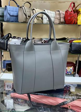 Серая сумка кожаная деловая сумка кожаная италия сумка шкіряна сіра
