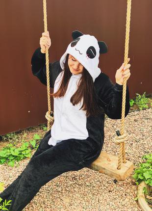 Кигуруми пижама панда черно белая