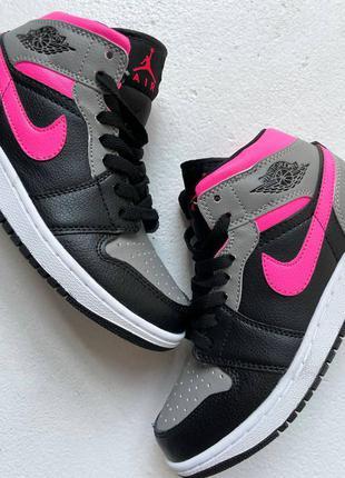 """Стильные высокие кроссовки женские nike air jordan retro 1 high """"shadow pink"""""""